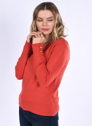 Optique Knitwear Düz Bisiklet Yaka Uzun Kol Triko Kazak Kırmızı